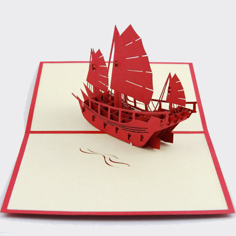 Handmade vintage sailboat  Pop up  card 3d card /  Greeting Card sailing boat