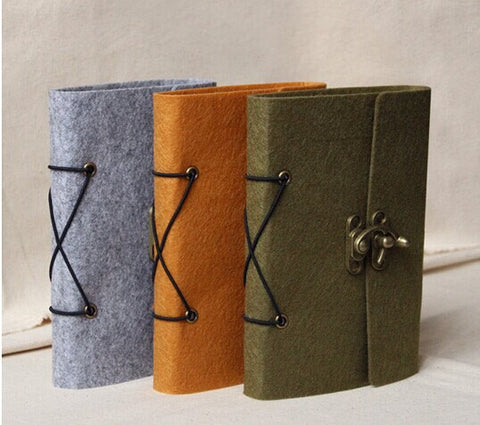 Felt Journal Traveler's Notebook vintage drawing book Refillable felt Journal Kraft Journal