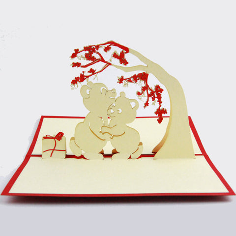 Bears love card pop up card laser cut card bear under the tree handmade card