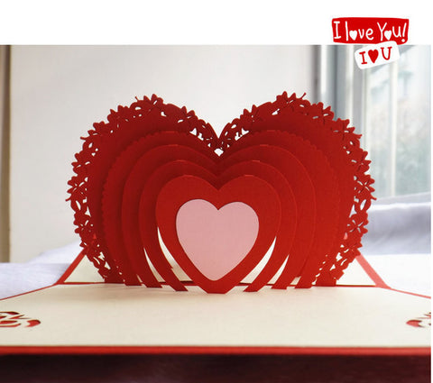 Heart love pop up card red heart lace heart 3D cards laser cut customised