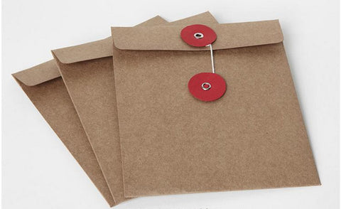 Set of CD sleeves - natural Kraft brown, recycled & eco-friendly - DVD, CD wedding favors, photography packaging String Tie Envelopes