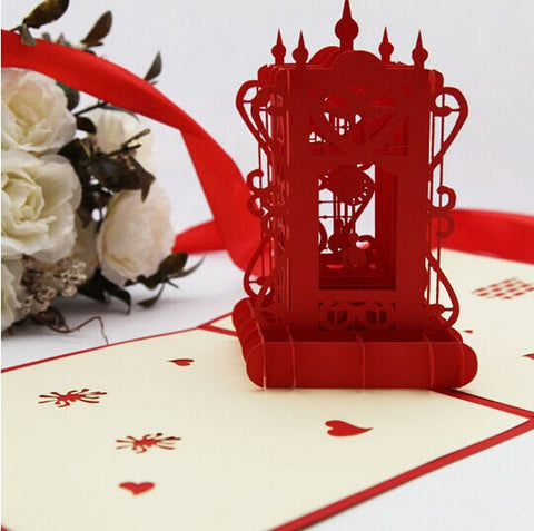 Vintage clock   Pop up card 3D card  handmade card gift card