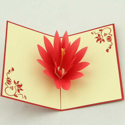 Lotus flower pop up card/3D card/ handmade  greeting cards