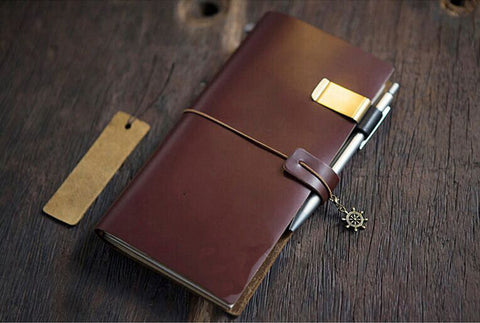 Genuine Leather MIDORI Style Traveler's Notebook/ Handmade traveler journal/Refillable Leather diary/ gift set/NB020