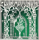 Home decor paper cut gift shadow box frame laser cut fairy in the garden