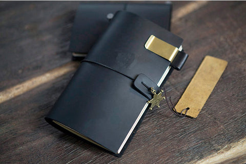 Black Genuine Leather MIDORI Style Traveler's Notebook/ Handmade traveler journal/Refillable Leather diary/ gift set/NB025