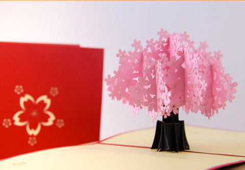 Cherry blossoms tree pop up card greeting card sakura post card