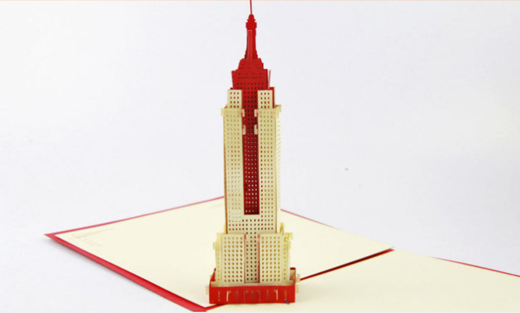 3D Empire State Building  in NewYork Pop up card gift card wedding invitation card birthday invitation card