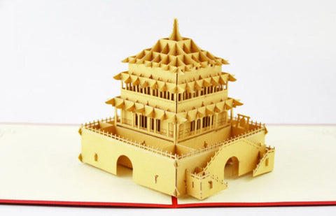 The Bell Tower  card  pop up card -greeting card 3d laser cut Chinese ancient building
