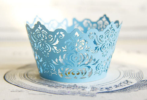 Pack of  laser cut  Elegant Vantage Damask cake cupcake wrappers for wedding party tea party cupcake decoration