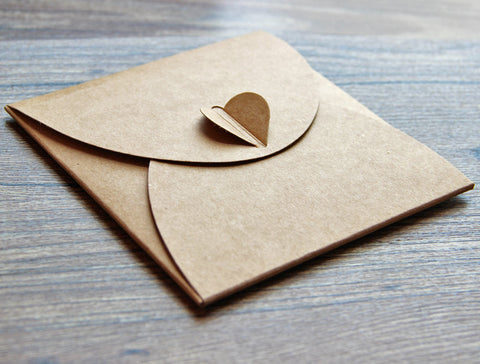 Set of CD sleeves heart button case - Recycled Kraft CD Sleeves DVD wedding favors,gift photography packaging