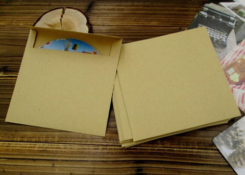 Set of CD cases - Recycled Kraft CD Sleeves DVD wedding favors bag,gift photography packaging