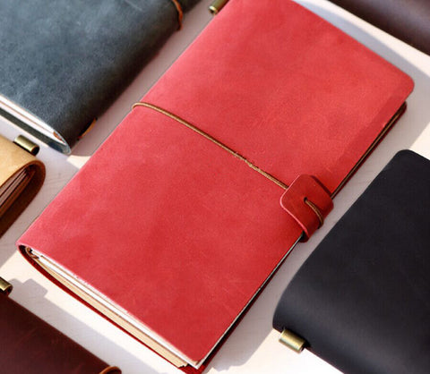 Genuine Red Leather MIDORI Style Traveler's Notebook/ Handmade traveler journal/Refillable Leather diary/ gift set/NB039