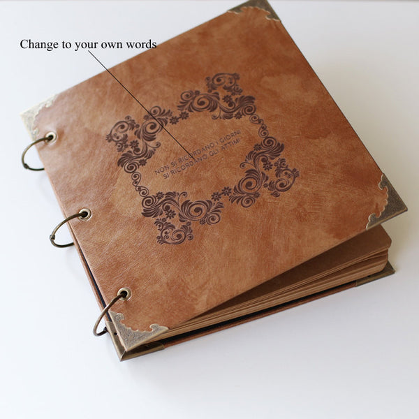 Personalized Engraved Photo Album/wedding scrapbook /wedding guestbook leather photo album
