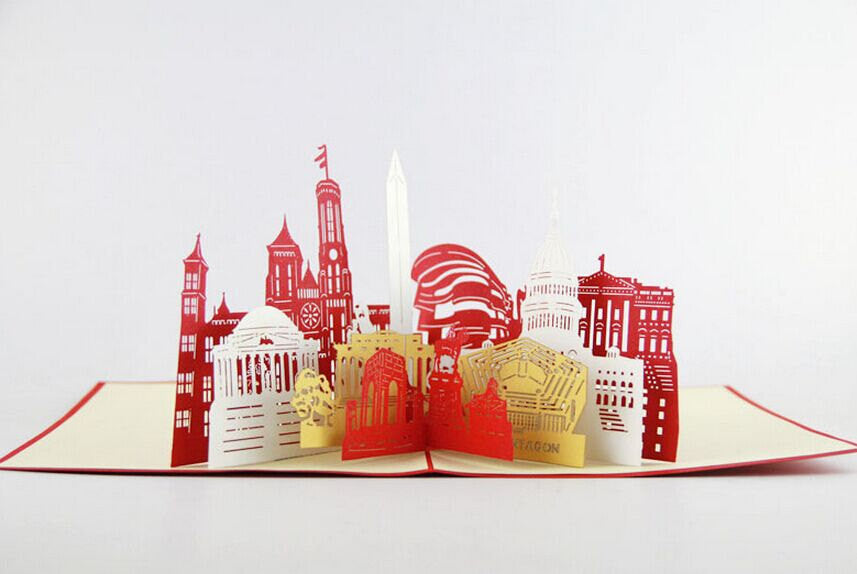 Washington City skyline in Pop up card greeting card  3d gift card gift for travelers