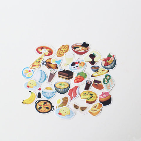 Food stickers planner stickers Erin Condren die cut watercolor stickers--S042