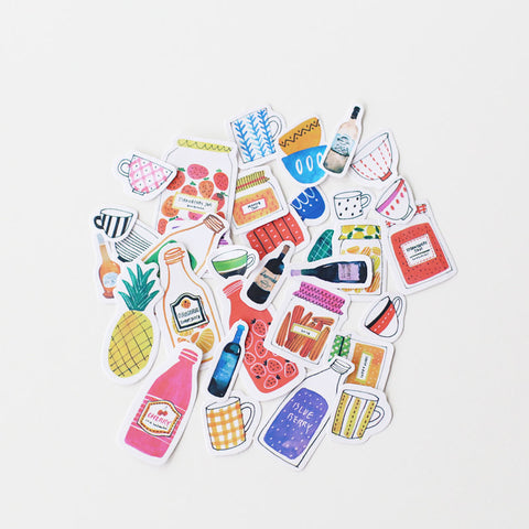 Juice & Jam stickers planner stickers Erin Condren die cut 33pcs watercolor stickers-S032