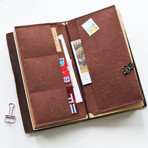 Brown Felt Card Holder for Standard size Midori Travelers Notebook / Card Organizer / Leather notebook Accessories/AC005