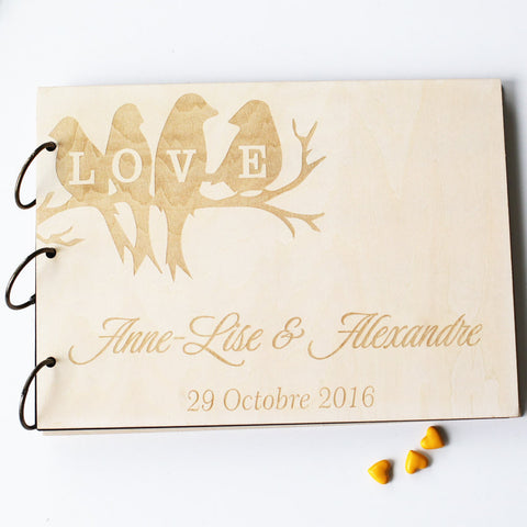 Love Tree Bird Unique Custom Wedding-Anniversary-Bridal shower guest book gift, Memory Guest Book