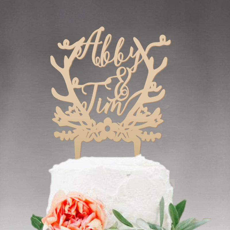 Wood Wedding Cake Topper Groom and Bride, Personalized with First Names