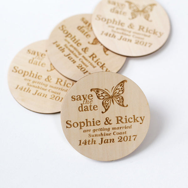 Butterfly Style Wooden Wedding Save the Date Magnets
