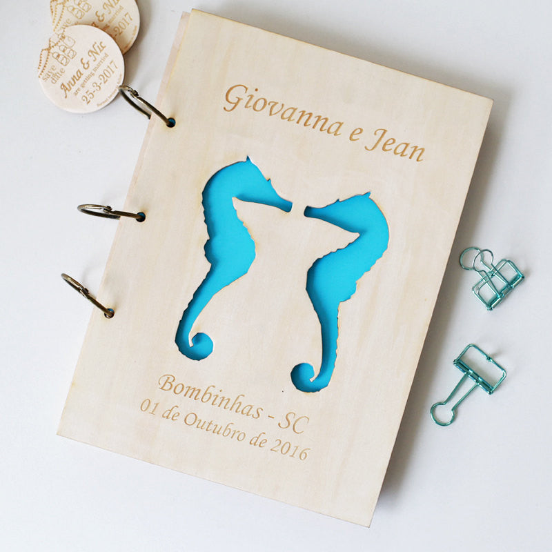 Beach Wedding Seahorse 'Rustic Wedding Guest Book' Custom Guest Book, Guestbook Wedding, Wood wedding guestbook