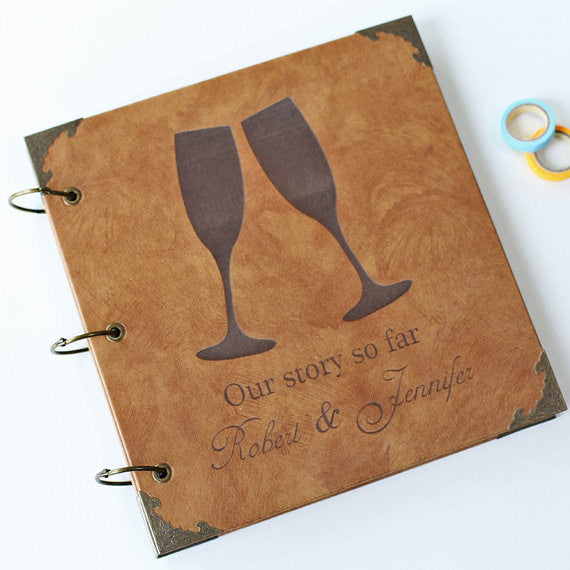 Personalized Wineglasses Wedding Guest Book Engraved Photo Album/ Kraft Scrapbook Album /guest book /Wedding Guestbook/Wedding Gift