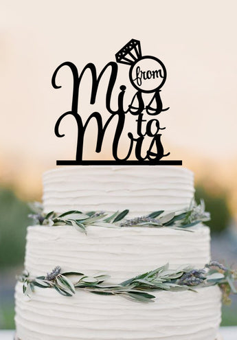 From Miss to Mrs wedding cake topper,diamond ring wedding decoration, funny wedding party cake topper
