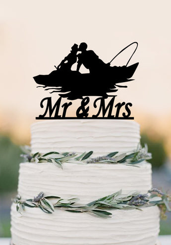 Mr and Mrs wedding cake topper,fishing couple in boat,wedding decoration