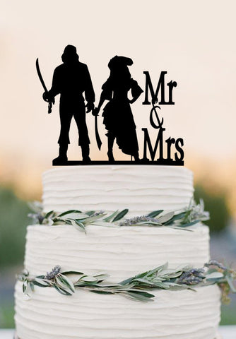 Mr and Mrs wedding cake topper,Pirates wedding cake topper ,wedding decoration
