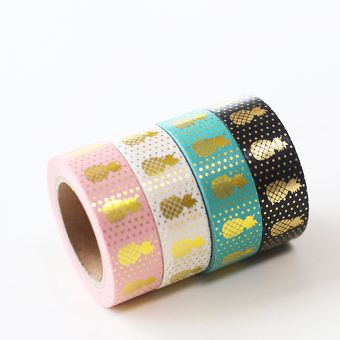 Pineapple WASHI tape, planner accessories,Gold Foil Washi Tape-T052