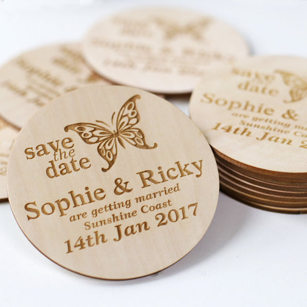 Butterfly Style Wooden Wedding Save the Date Magnets Personalized Elegant Wedding Invitation Wedding Postcard Save the Date Invitation