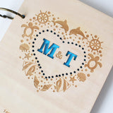 Heart with Ocean style Rustic Wedding Guest Book //Nautical Custom Wedding Guest Book//Laser Engraved, Bridal Shower