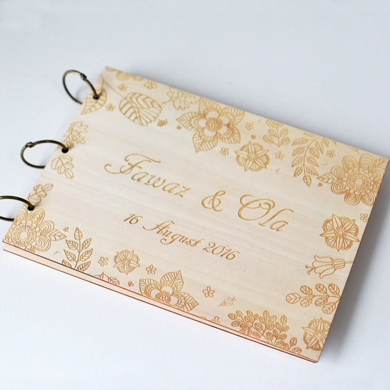 Flower Wedding Guest Book Rustic Guestbook Wooden GuestBook Notebook Country flower Wedding Decoration Laser Engraved