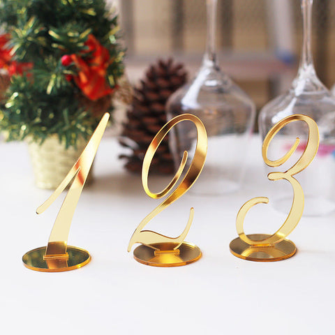Acrylic Table Number Standing Mirror Gold Table Number  Wedding Table Decor mirror silver wedding table number