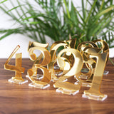 Acrylic Table Numbers for Wedding Party or Event, Gold or Silver Wedding Decor