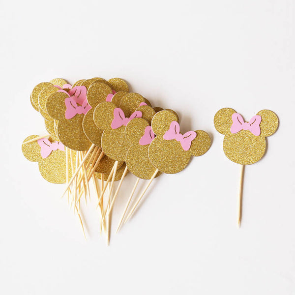 Gold Minnie Head and Pink Bow, Minnie Mouse Cupcake Toppers,Minnie Mouse Party Decor