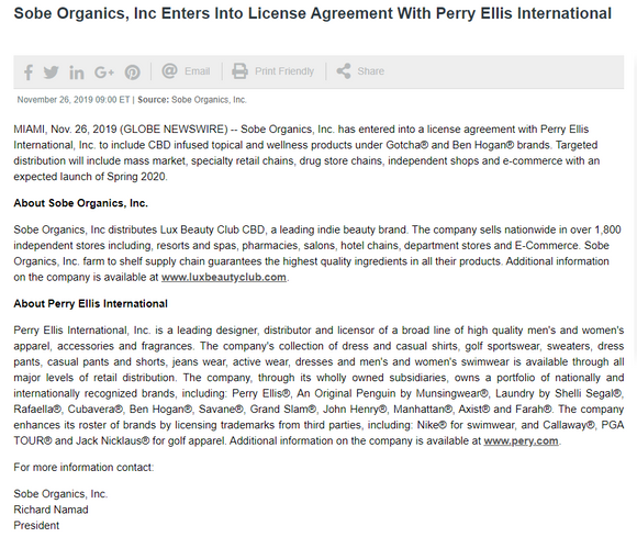 Sobe Organics, Inc Enters Into License Agreement With Perry Ellis International