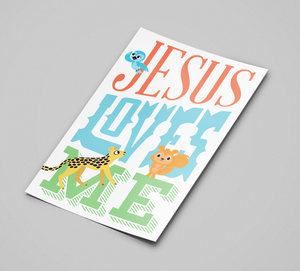 "Load image into Gallery viewer, STICKER: ""Jesus Loves Me' with animals"