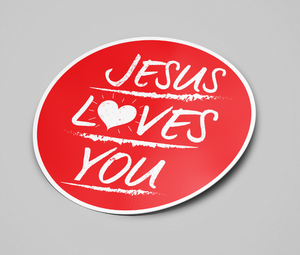 Load image into Gallery viewer, STICKER: Red Jesus Loves You circle