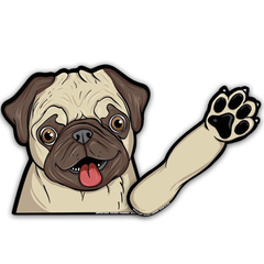 Waving Pug Decal with Rear Wiper Cover