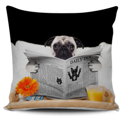 Pug News Pillow Cover