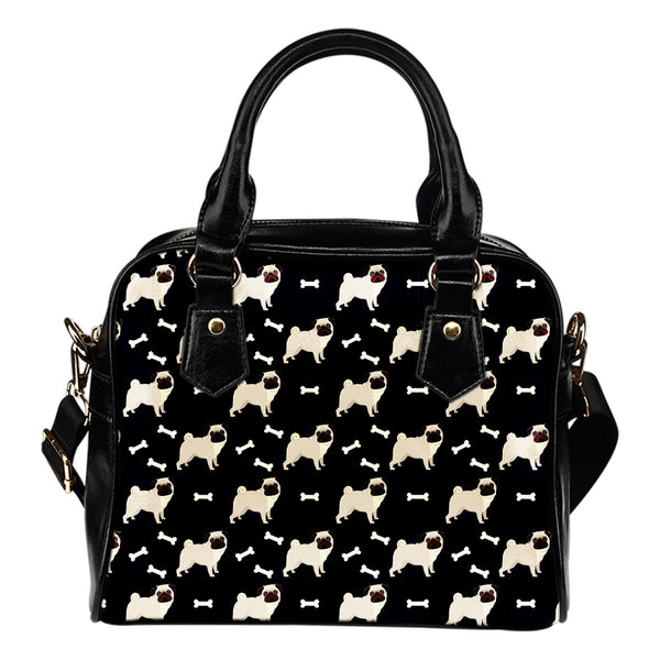 Pugs All Over Leather Shoulder Bag