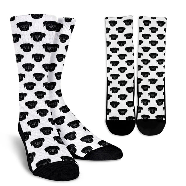 Little Black Pug Face Socks