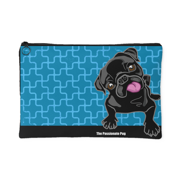 Black Pug Makeup Pouch Blueberry