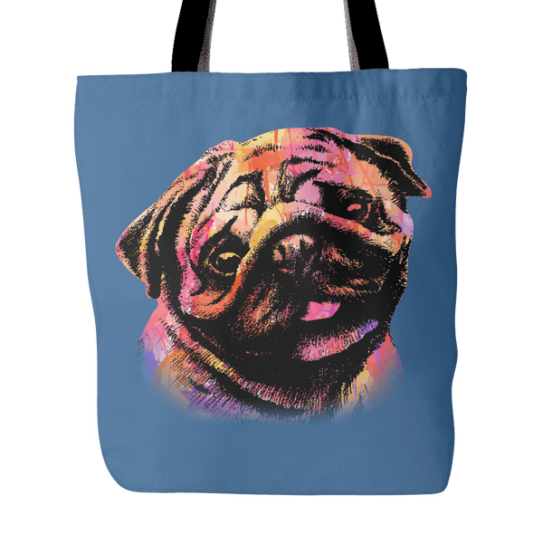 Abstract Pug Tote Bag - the passionate pug - Denim Blue - 3