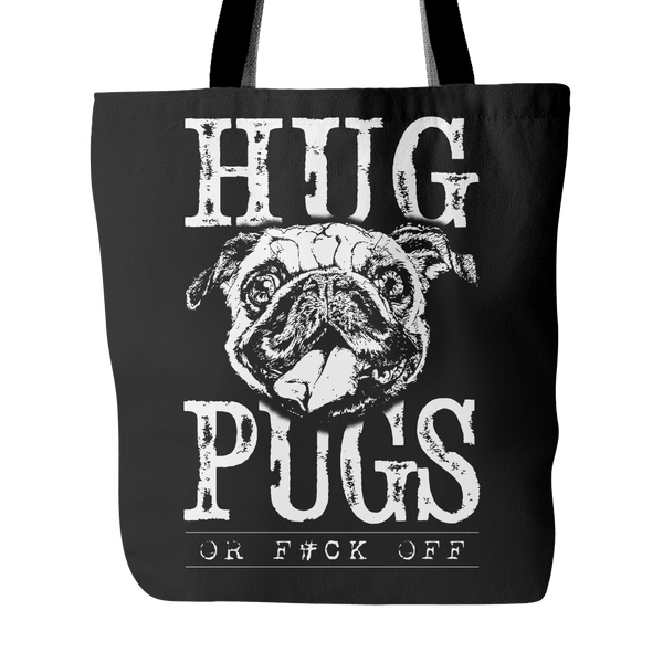Hug Pugs Tote Bag - the passionate pug - Black - 1