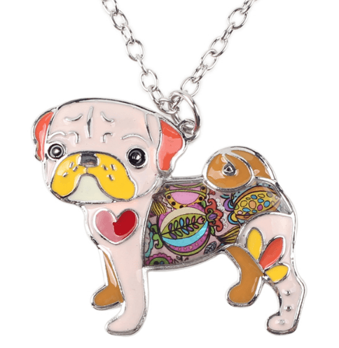Women's What The Pug? Enamel Necklace - thepassionatepug - pink - 3