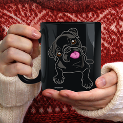 Black Pug Black Coffee Mug