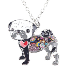 Women's What The Pug? Enamel Necklace - thepassionatepug - gray - 2